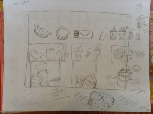 sketch of food stand scene, animations to include flipping of dumplings from the pan and blender mixing fruit