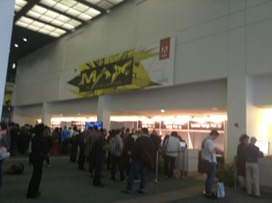 registration lines on morning of Day 1 (MAX logo designed by karlssonwilker)