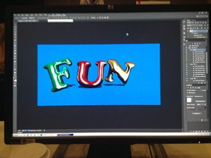 "first lab in the morning: ""How to Create and Work Quickly with 3D in Photoshop"" presented byCorey Barker; an image of my computer screen, working with text"