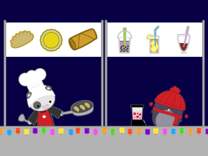 adding a string of lanterns to the food stand scene