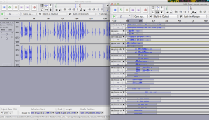 snapshot from Audacity on sound recordings and editing