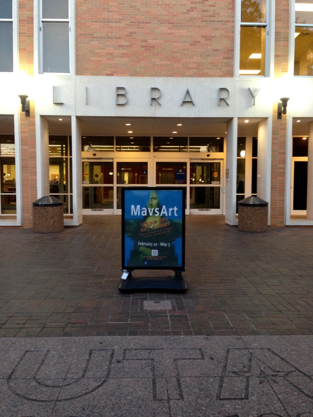 MavsArt promotional sign in front of the UT Arlington library
