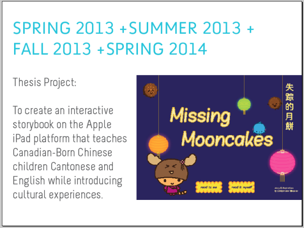 discussed the process and research involved with Missing Mooncakes