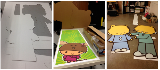 was able to use the corrugated cardboard cutting machine at the school facilities to cut out the characters life size