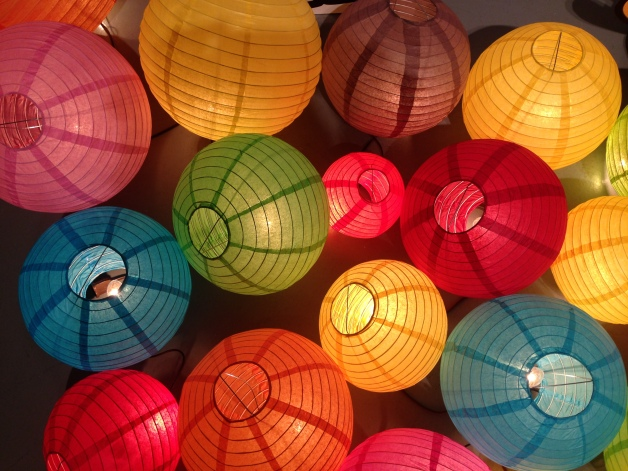close-up of lanterns