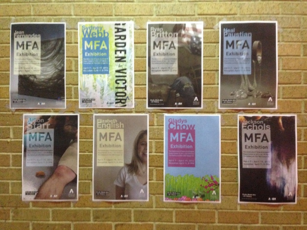 MFA grad posters (designed by A+AH department designers)