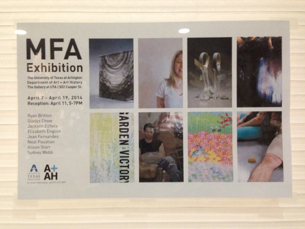 the MFA reception poster (designed by A+AH department designers)